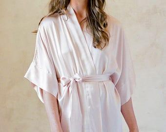 Samantha Silk Robe in Rose Quartz pink bridesmaids robes bridal kimono