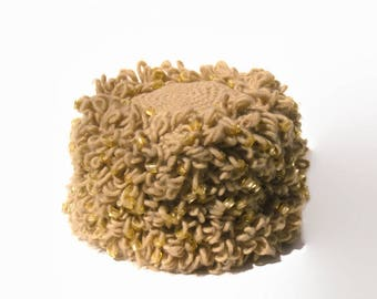Mod Crocheted Loopy Hat with Gold Beads, Late 1960s Hat, Made in Japan