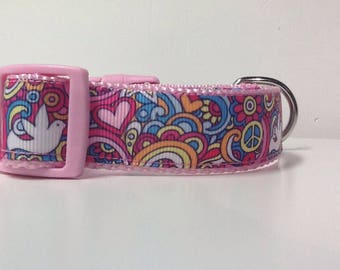 Dog Collar -Pink Peace and Love  -50% Profits to Dog Rescue