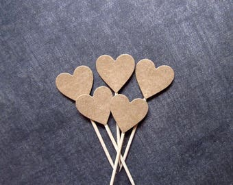 24 Kraft Heart Cupcake Toppers, Party Decor, Double-Sided, Weddings, Showers, Autumn, Rustic, Love, Brown, Valentine's Day