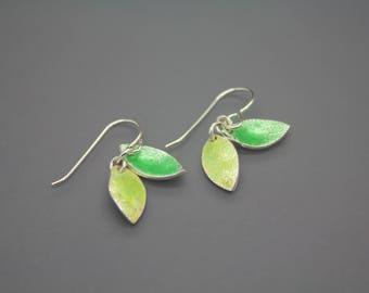 Leaf Earrings, Leaf Jewelry, Fall Leaves, Fused Glass Jewelry, Enamel Jewelry, Enamel Earrings, Glass Jewelry, Glass Earrings, Leaves
