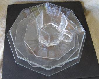 Arcoroc Octagonal Clear Glass Dish Set, 5 Piece Set
