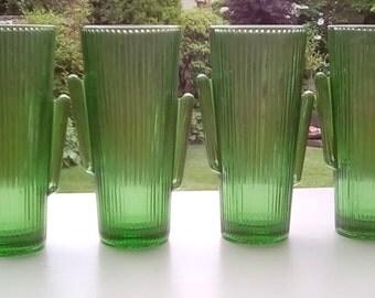 4 Libbey Green Cactus Glass Tumblers, 16 oz Cactus Tumblers, Wedding Vases, Desert, Saguaro