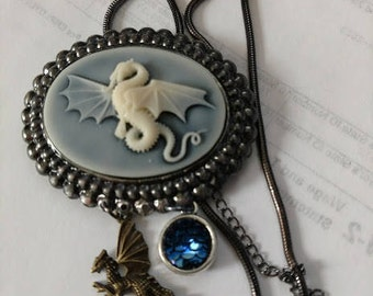 Double dragon scale necklace gunmetal cameo