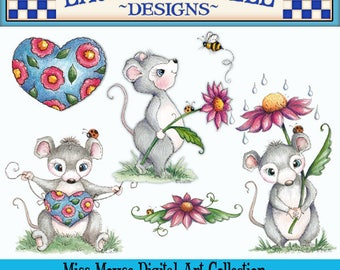 Mouse Clip Art, Laurie Furnell Art, Ladybug Clip Art Flower Wreath Clip Art Watercolor ClipArt, Hand Drawn Clip Art, Card Making, Flower Art