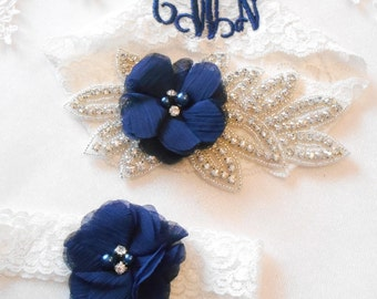 Wedding Garter Set Beautiful Rhinestone Piece Chiffon Flower MONOGRAM Option Bridal Garter Floral Stretch Lace Bridal Garter