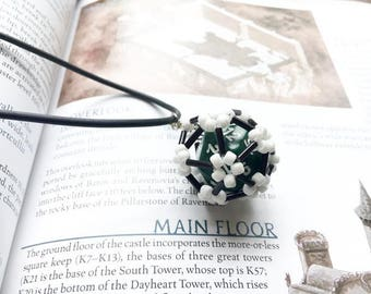 black, white, Dice cage, dice jewelry, d20, dice necklace, dungeons and dragons, rpg, tabletop gaming, gamer, nerd, geek, Pathfinder
