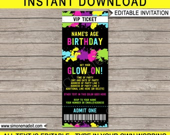 Neon Glow Party Ticket Invitation - Neon Glow Theme - Birthday Party - Printable Invite - INSTANT DOWNLOAD with EDITABLE text