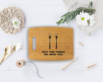 Star Wars cutting board - Bamboo May the forks be with you