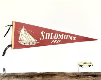 Vintage Solomons Maryland Felt Souvenir Pennant