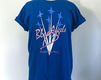 Vintage 1990s United States Navy Blue Angels Tshirt- Women's size XL