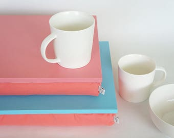 Sofa tray with cozy pillow, Serving tray, Laptop stand- aqua blue tray with light cotton mix fabric pillow in light watermelon coral