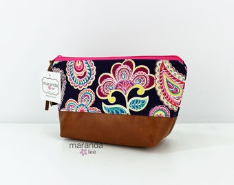 AVA Small Clutch - Purple Flowers with PU Leather  READY to SHIp Cosmetic Toiletries bag Travel Make Up Zipper Pouch