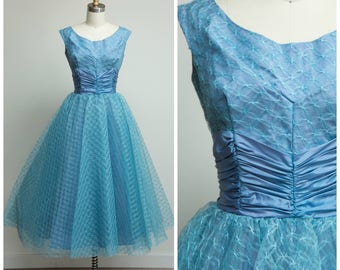 Vintage 1950s Dress • In My Mind • Light Blue Tulle 50s Party Dress with Full Skirt Size Small