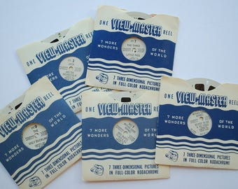 Vintage 1950's Sawyer's View Master Reels - Lot of 5 Fairy Tales Mother Goose Rhymes - Ugly Duckling - Three Little Pigs - Jack & Beanstalk