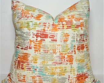 INVENTORY REDUCTION Rose Orange Yellow Green Blue Ivory Ikat Home Decor by HomeLiving Pillow Cover Size 18x18