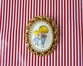 Vintage 1960's/70's Rare, OOAK Joan Walsh Anglund, Illustrator, Large Oval Gold Framed, Cameo Style Brooch, Little Children Brooch