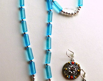 American Southwest inspired blue yellow orange necklace and earring set