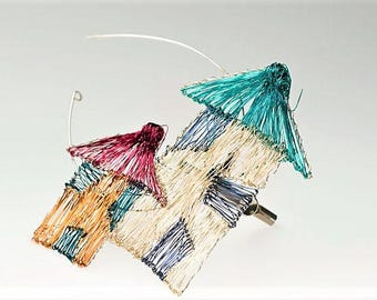 Home Jewelry, house brooch, rainbow, house jewelry, large brooch, wire sculpture, wearable art, new mom gift, Christmas, architecture gift