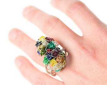 Flower ring Colorful ring Abstract flower jewelry Double Wire ring Sculptural ring Modern Contemporary Art ring Anniversary gift for women
