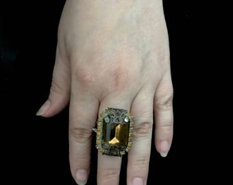 Green Statement Ring- Vintage Green Rhinestone Cocktail Ring- Green Cocktail Ring- Green Jewelry- Green Ring- Statement Cocktail Ring