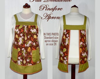 Fall Decadence Pinafore Apron, no tie apron, comfortable all day apron, out-of-print fabric, limited edition, READY TO SHIP in this size