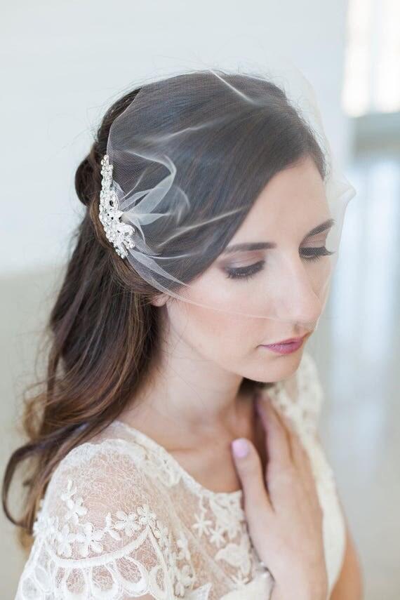 Birdcage veil, Blusher veil, Tulle Bridal Veil, Tulle birdcage veil, Bridal Comb, Bandeau Birdcage Veil, Wedding Veil with Crystal Comb