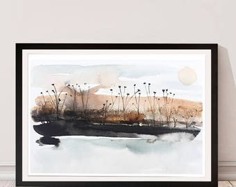 Release to Slumber. Watercolor. Print. Abstract Landscape