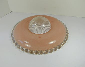 Vintage BLUSH PINK LIGHTSHADE Ribbed Dome Beaded Rim Ceiling 3 Hole Glass Lamp Light