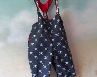 ON SALE - Child's Pirate Dungarees Overalls With Four Deep Pockets: Cake Smash, Halloween, Play Outfit - All Cotton, Size 2, Ready To Ship