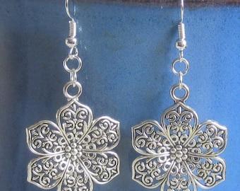 FLOWER Tibetan & .925 SILVER plate pierced earrings