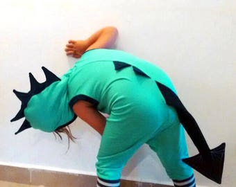Dragon Romper/ Dragon Toddler/ Dragon Party/ Toddler Gift/ Kids Dragon/ Kids Dinosaur Party/ Birthday Party/ Dinosaur Costume/ Green Dragon
