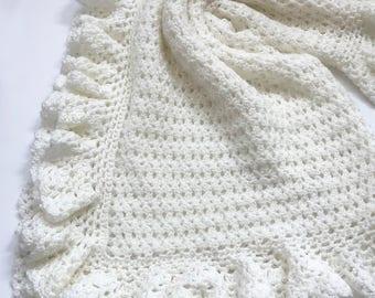 Crochet Baby Blanket Pattern, Baby Blanket Pattern, Crochet Baby Blanket, CROCHET PATTERN, Heirloom Lace, Patterns by Deborah O'Leary