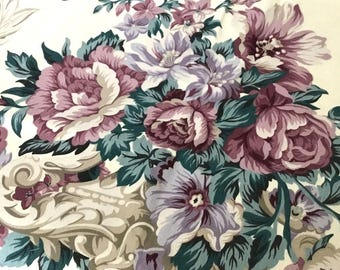 "Vintage Fabric - Beautiful Cabbage Roses - Soft Purple Colors  - Sterling Prints - 38""L x 54""W - material - textile - sewing supply - Retro"