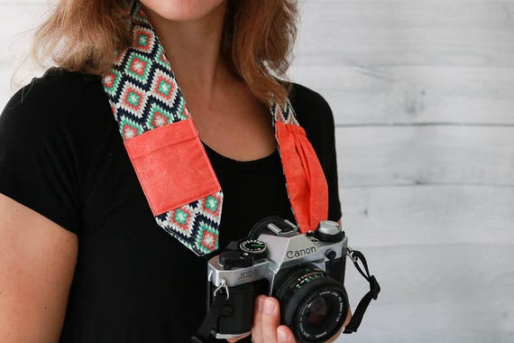 Camera Strap for DSLR and SLR Cameras | Kilim Print Strap with Coral Lens Cap Pockets