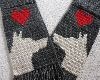 German Shepherd Scarf. Charcoal gray knit and crochet scarf with white German shepherd dogs and red hearts.