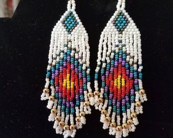 Native American Style Beaded Peacock Eye Earrings Frost Gold, Turquoise, Purple, Red Orange, Yellow, Southwestern Brick Stitch Great Gift
