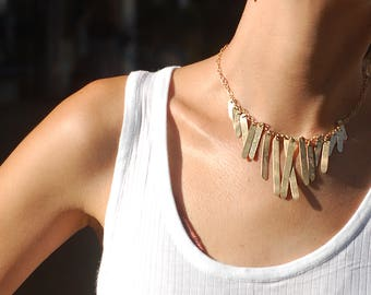Glamorous Long dangle Stripe Necklace - Gold Filled Statement Necklace - Designer Handmade Gold Necklace - Goldfield Dangle Stripes Necklace