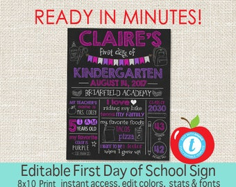 First Day of School Sign, Chalkboard, First Day of School, ANY GRADE, Back to School, 1st Day Printable Sign, EDITABLE, Instant Download