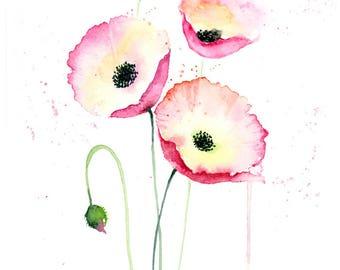 Watercolor Flowers Print - Pink Poppy Flowers