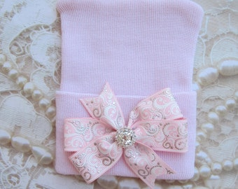 Baby Pink Newborn Hospital Hat, with pink and silver swirl bow, baby hat, lil miss sweet pea, infant beanie, shower gift, hat with bow