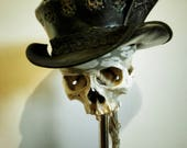 Leather Top Hat, Black Leather Gothic Hat, Leather Topper