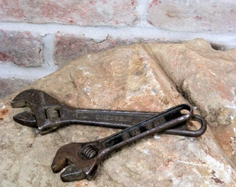 Two Vintage Crescent Wrenches / Vintage Adjustable Wrench / Rusty Wrench / Old Tools / Industrial Decor Man Cave / Mechanic Tool