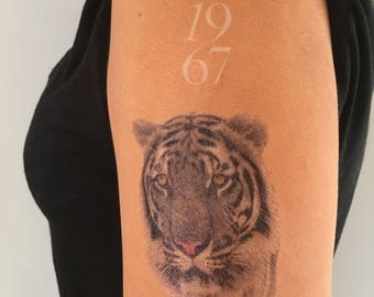 Temporary black and white tiger tattoo. Temporary tattoos, trial tat, test tattoo, body art, tiger, albino animal, arm, costume, stripes ink