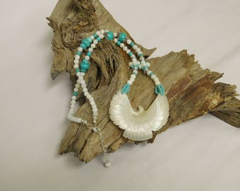 Mother of pearl phoenix and turquoise magnesite necklace