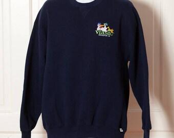 Vintage 90s VLASIC Stork Pickles BRIDGEPORT MI Sweatshirt - navy blue - xl