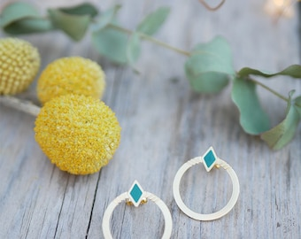 Earrings Romy brass gold filled 24k, green