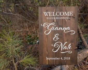 Wedding Welcome Sign, Wedding // Rustic Wood Wedding Sign // Personalized Wedding