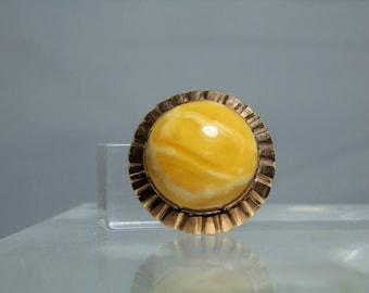 Vintage 14 Gold Ring Natural Yellow Egg Yolk Fine Baltic Amber Size 6 Vintage European Stamps 585 Rose Gold Setting DanPickedMinerals