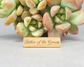 Father of the Groom Tie Bar - Laser Engraved Alder Wood - Wedding Tie Clip